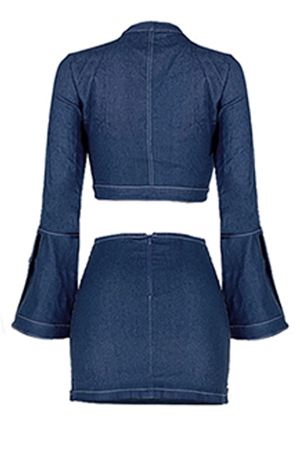 Lovely Street Crop Top Deep Blue Two-piece Skirt Set