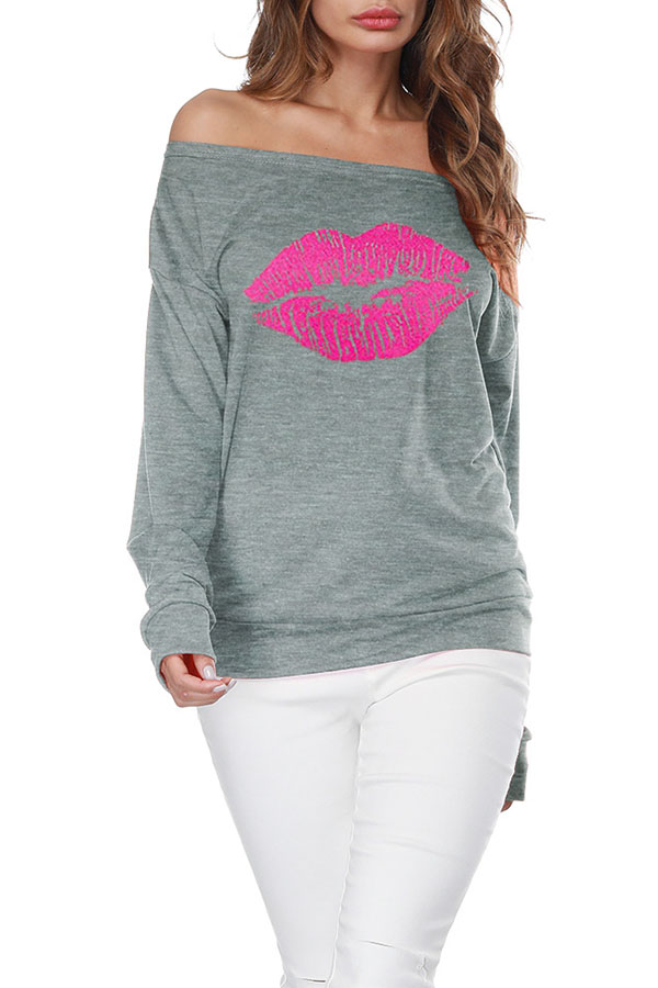 Lovely Casual Lip Printed Grey Sweatshirt Hoodie