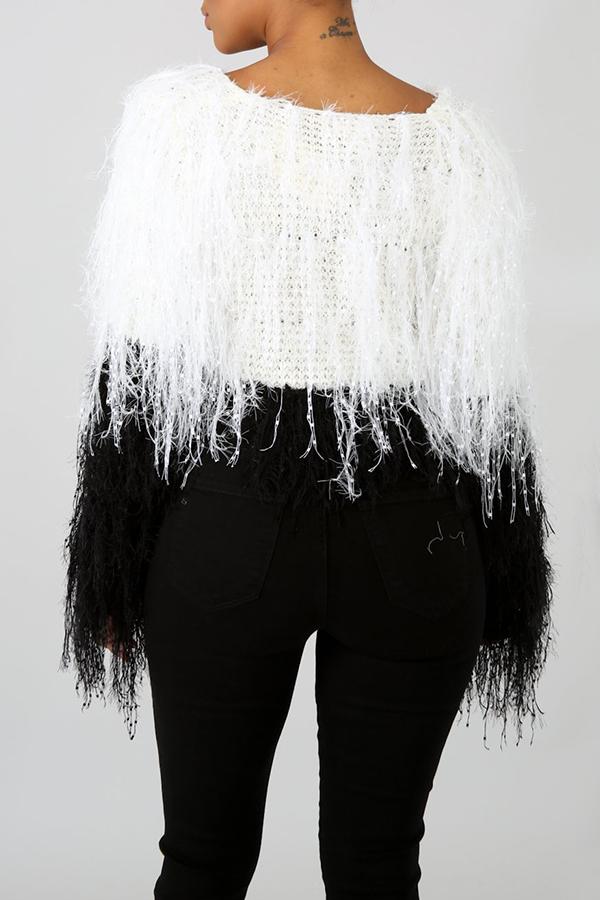Lovely Sweet Tassel Design Black And White Sweater