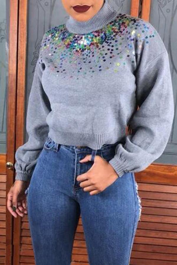 Lovely Trendy Turtleneck Sequined Decorative Grey  Sweater