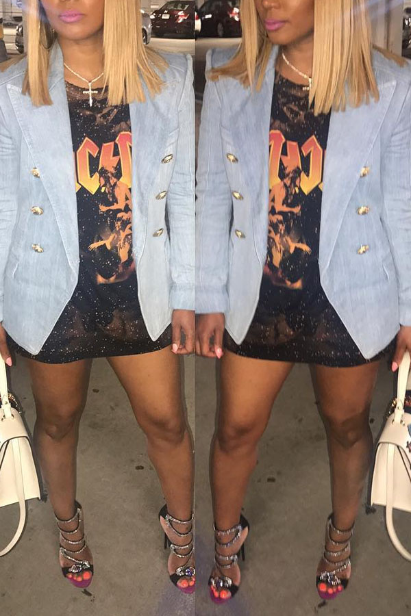 Lovely Trendy Double-breasted Baby Blue Blazer