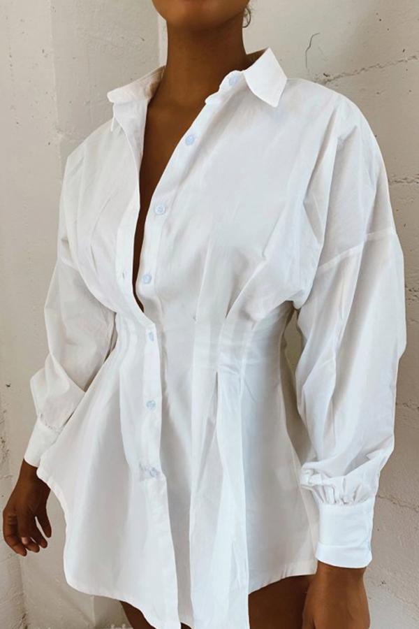 Lovely Sweet Turndown Collar White Mini Dress