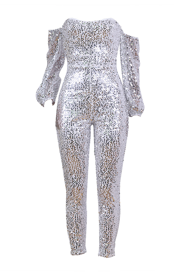 Lovely Casual Dew Shoulder Sequined Silver One-piece Jumpsuit