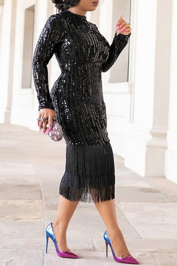 Lovely Casual Tassel Design Black Knee Length Dress