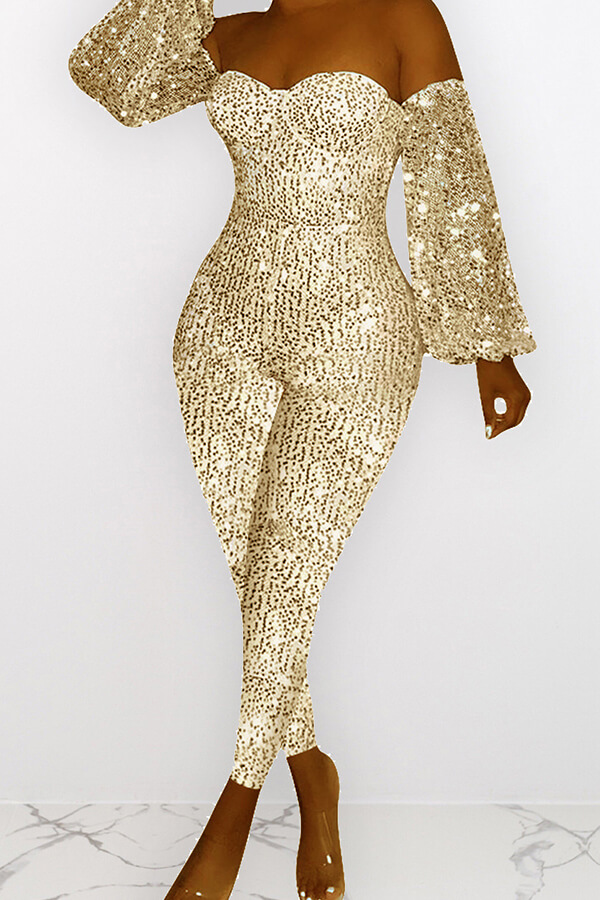 Lovely Casual Dew Shoulder Sequined Gold One-piece Jumpsuit