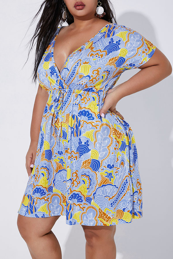 Lovely Casual Printed Baby Blue Plus Size Mini Dress