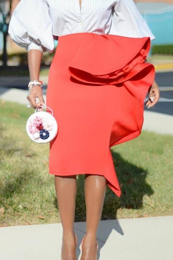 Lovely Trendy Patchwork Red Knee Length Skirt