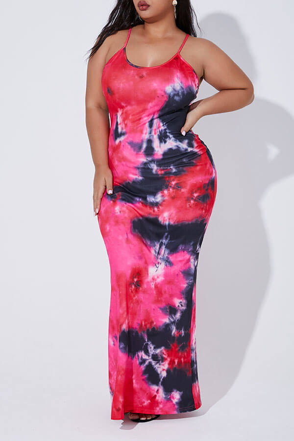 Lovely Casual Tie-dye Red Maxi Plus Size Dress