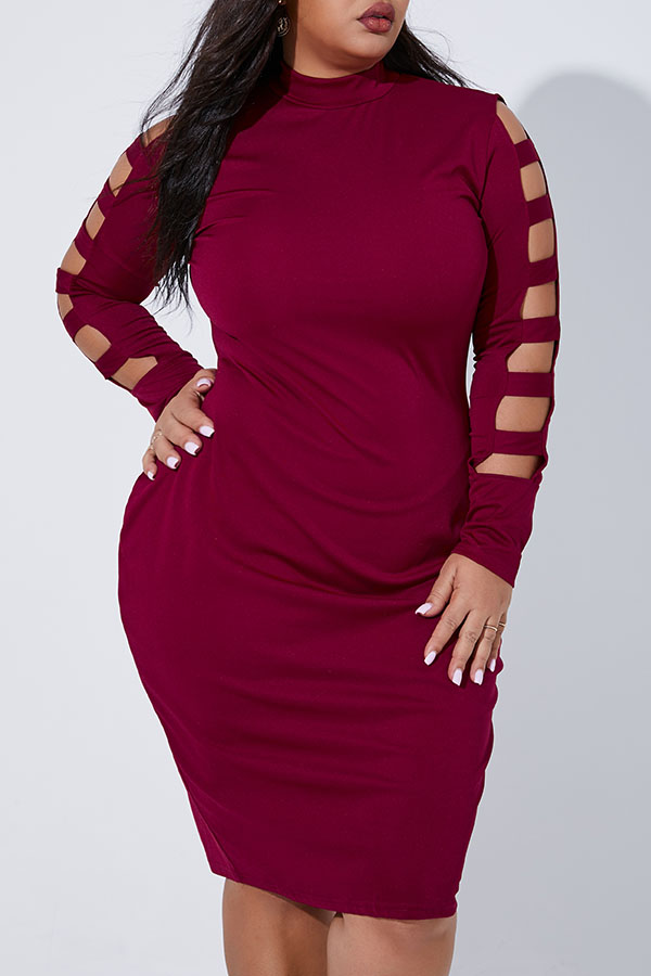 Lovely Casual Half A Turtleneck Hollow-out Wine Red Knee Length Plus Size Dress