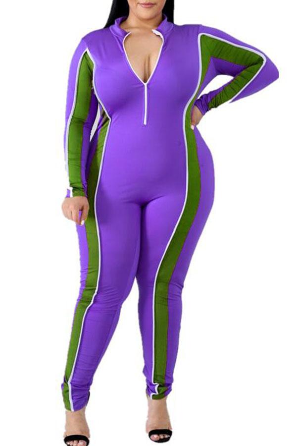 Lovely Casual Patchwork Zipper Design Purple Plus Size One-piece Jumpsuit