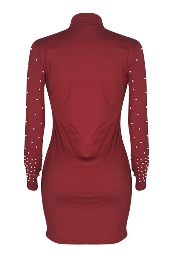 Lovely Sweet Half A turtleneck Nail Bead Design Wine Red Mini Dress