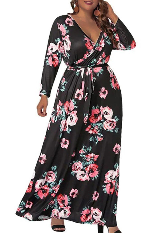 Lovely Casual V Neck Floral Printed Pitch-black Ankle Length Plus Size Dress