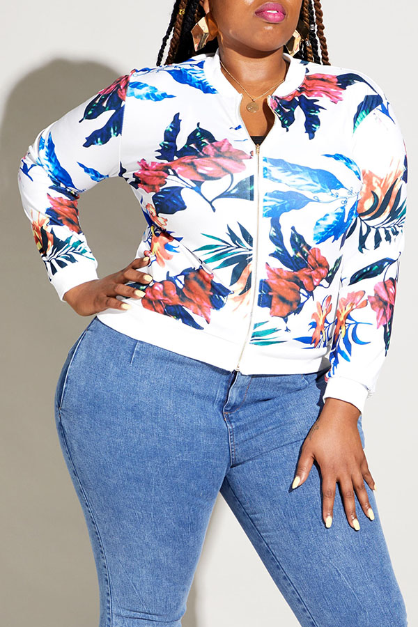 Lovely White Printed White Plus Size Jacket