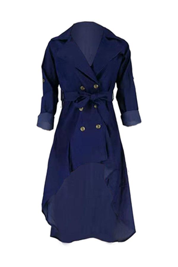 Lovely Casual Asymmetrical Dark Blue Ankle Length Dress