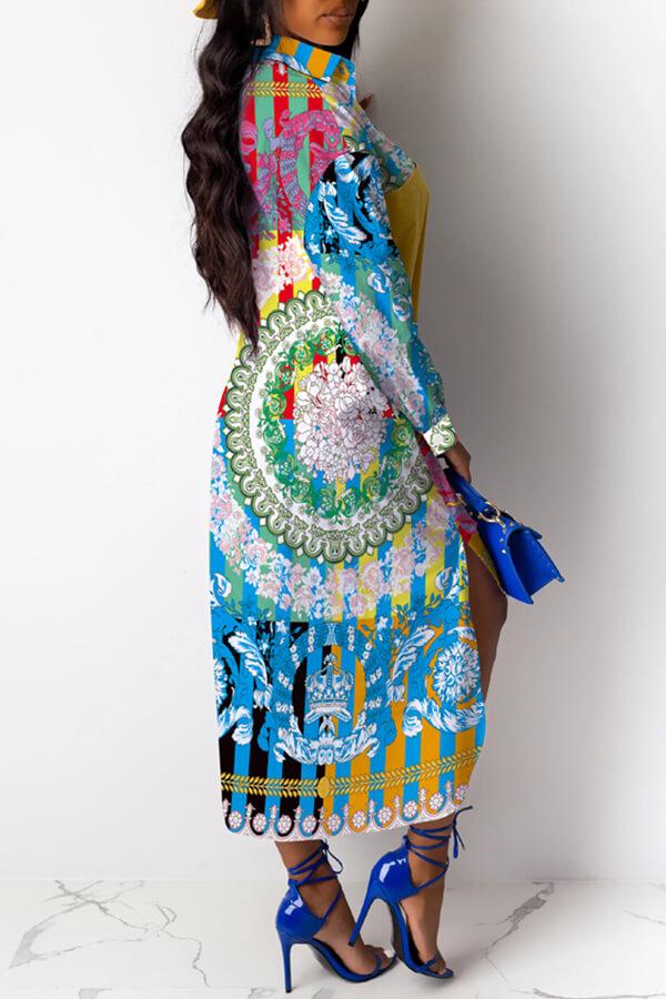 Lovely Trendy Turndown Collar Printed Multicolor Mid Calf Dress