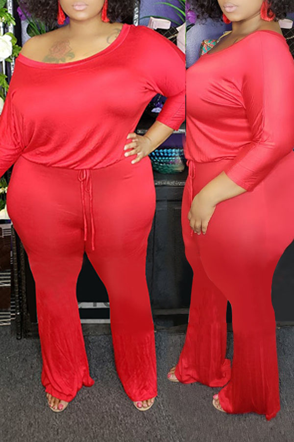 Lovely Trendy One Shoulder Red Plus Size One-piece Jumpsuit