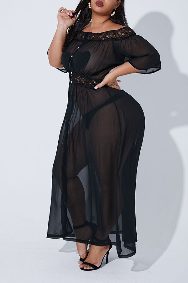 Lovely Casual See-through Black Plus Size Cover-up