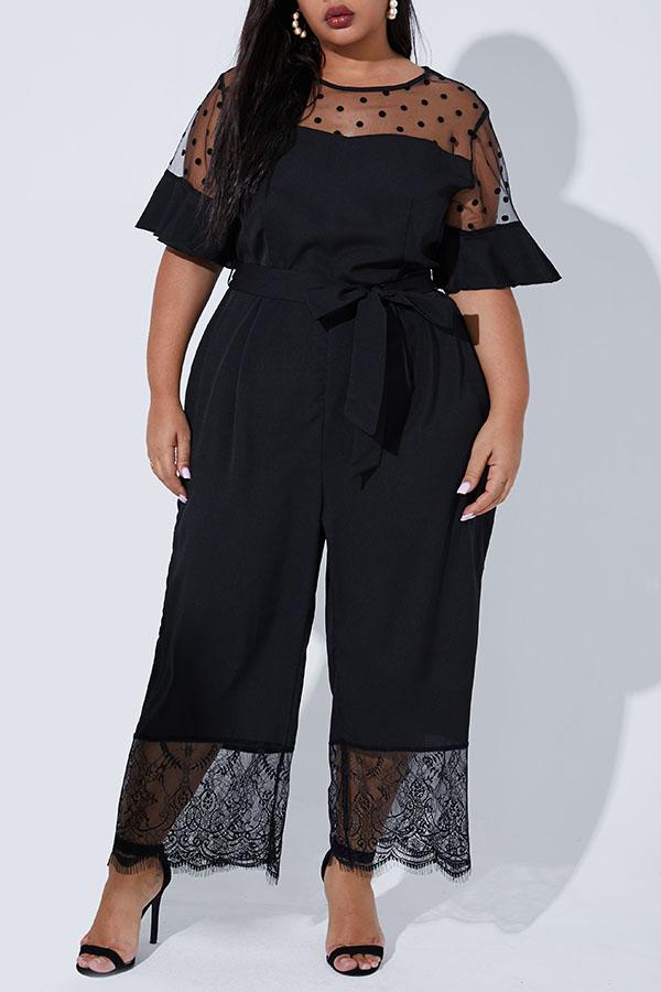 Lovely Casual Lace Patchwork Black Plus Size One-piece Jumpsuit