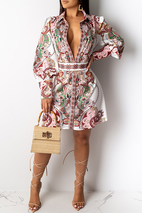 Lovely Casual Deep V Neck Printed Multicolor Knee Length Dress