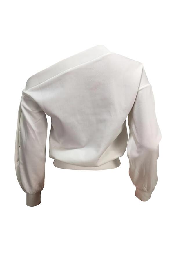 Lovely Casual Asymmetrical Neckline Lip Printed White Sweatshirt Hoodie