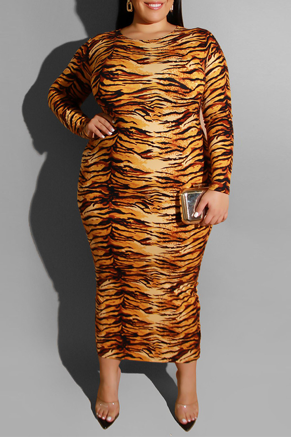 Lovely Casual Tiger Stripes Mid Calf Plus Size Dress