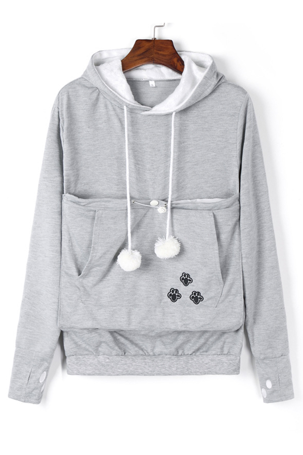 Lovely Casual Hooded Collar Embroidery Design Grey Hoodie