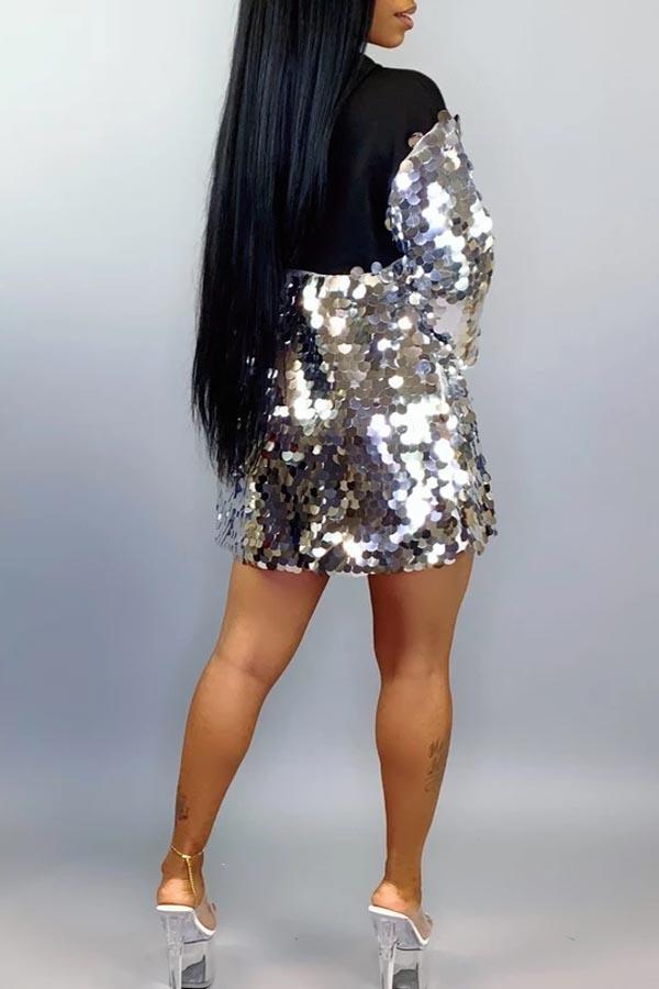 Lovely Trendy Hooded Collar Sequined Decorative Black Mini Dress