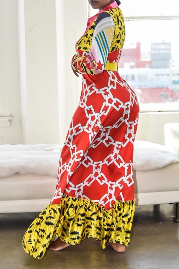 Lovely Casual Patchwork Multicolor Ankle Length Dress