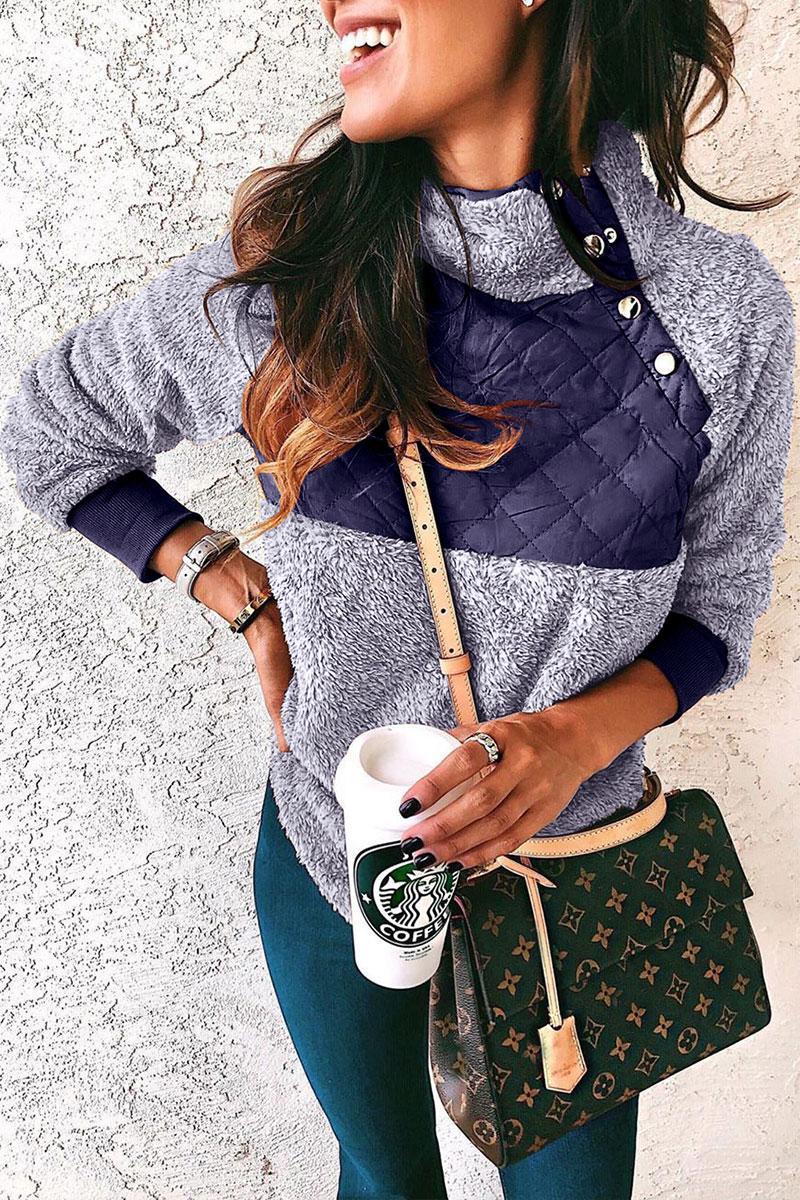 Lovely Mandarin Collar Patchwork Blue Hoodie