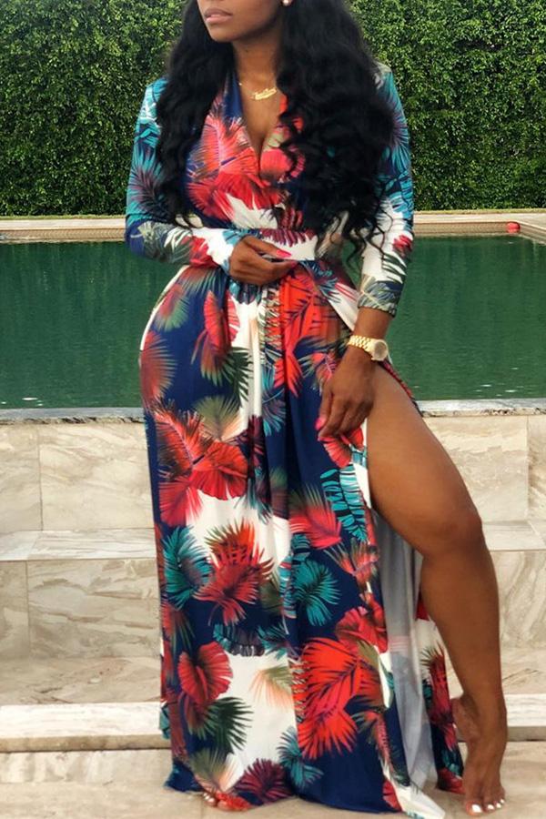 Lovely Casual V Neck Side High Slit Multicolor Floor Length Dress