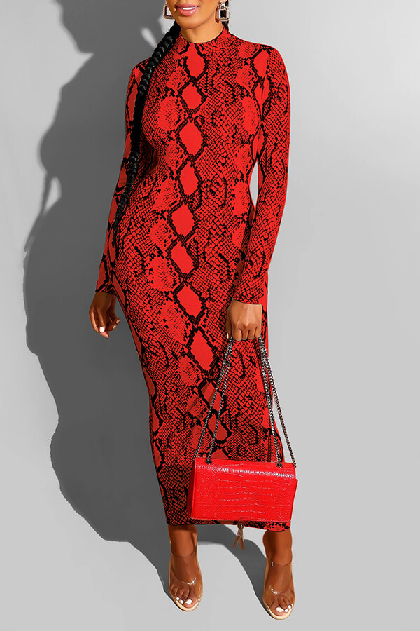 Lovely Casual Snakeskin Printed Red Ankle Length Dress