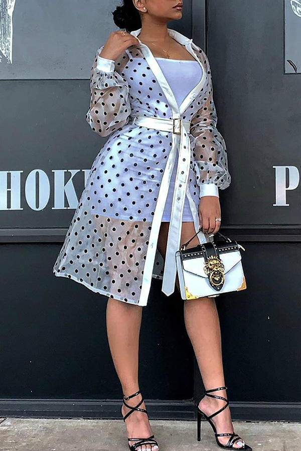 Lovely Trendy Dot Printed White Trench Coats