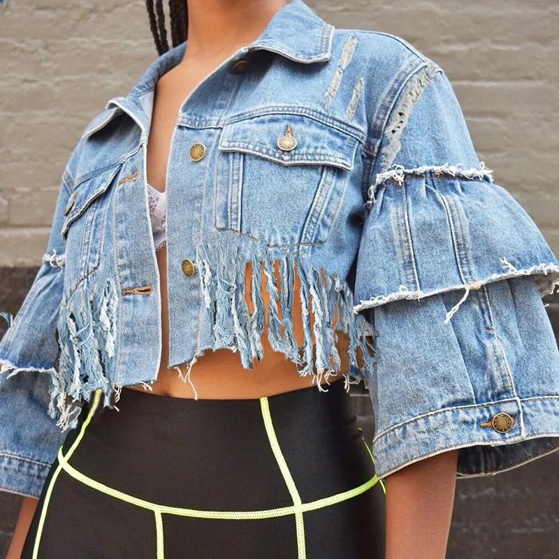 Lovely Trendy Turndown Collar Tassel Design Blue Jacket