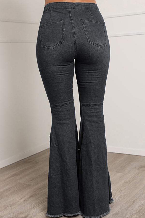 Lovely Casual High Waist Rhinestone Decoration Black Jeans