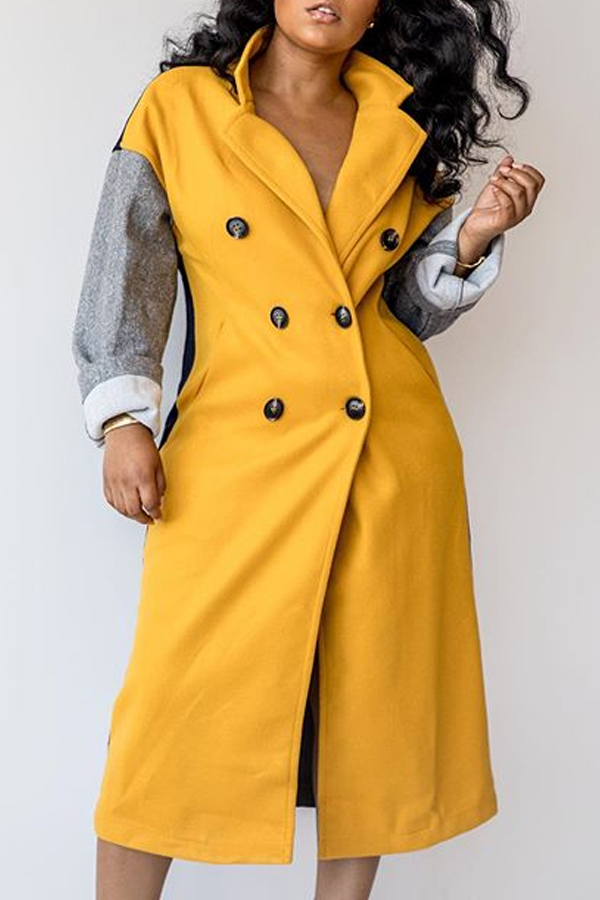Lovely Trendy Turndown Collar Patchwork Multicolor Trench Coat