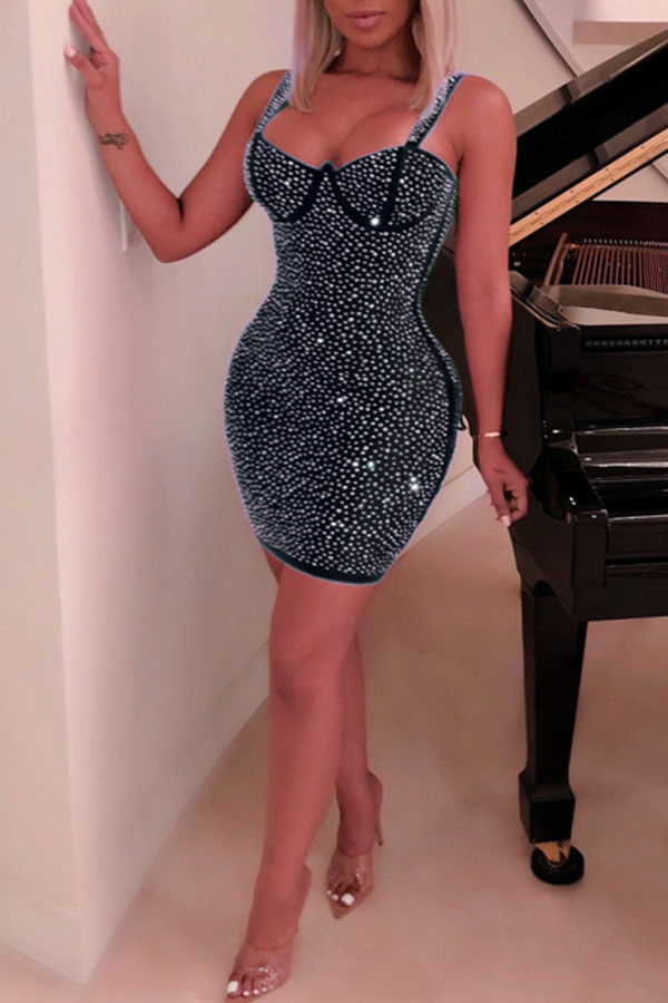Lovely Party Spaghetti Straps Hot Drilling Decorative Black Mini Dress