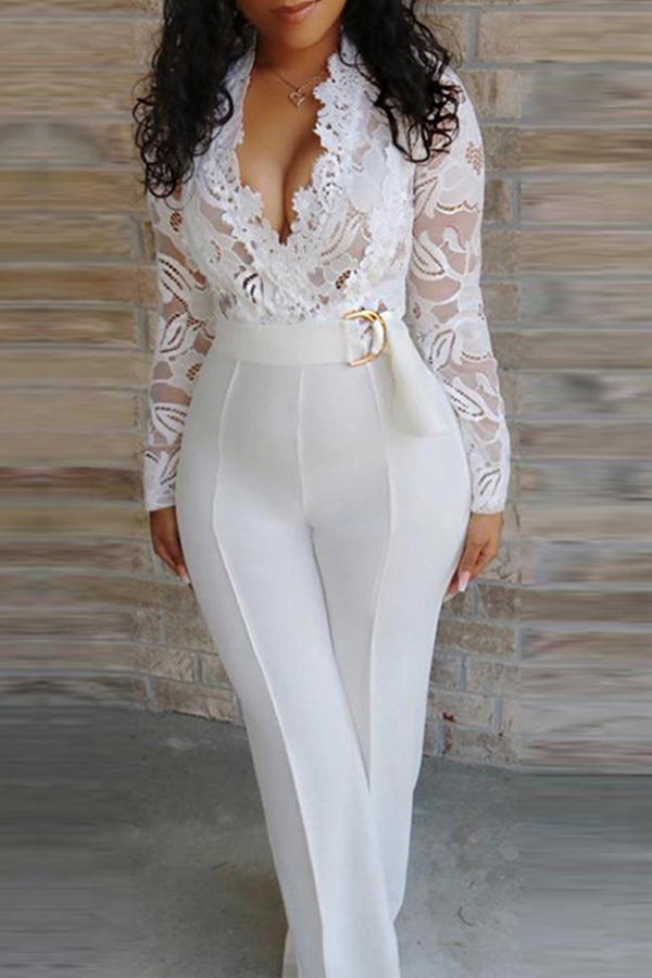 Lovely Chic Patchwork White One-piece Jumpsuit