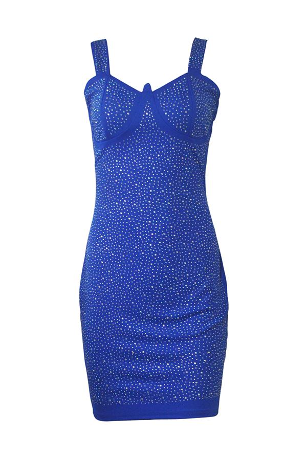 Lovely Party Spaghetti Straps Hot Drilling Decorative Blue Mini Dress