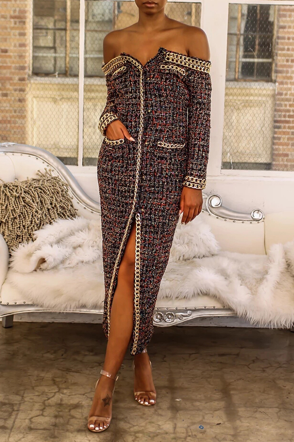Lovely Casual Front Slit Black Mid Calf Dress