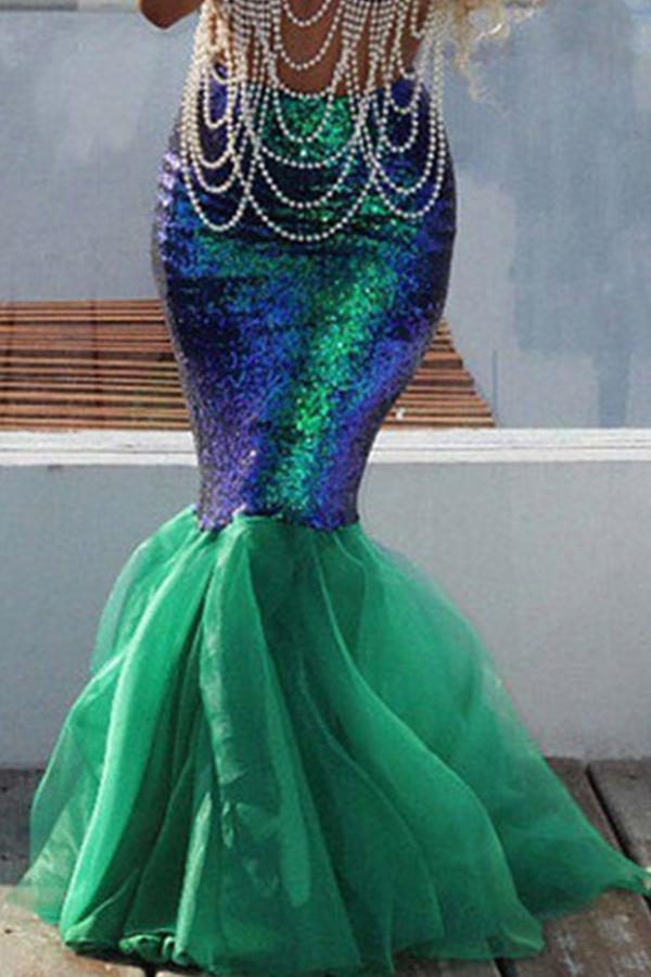 Lovely Trend Sequined Decorative Green Floor Length Skirt