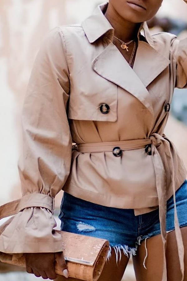 Lovely Casual Buttons Design Light Camel Coat