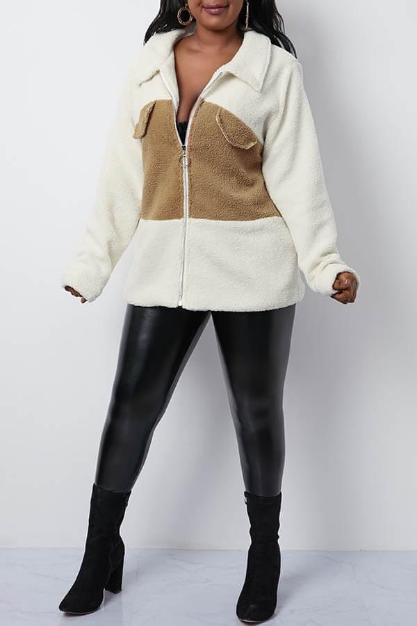 Lovely Trendy Patchwork Khaki Teddy Coat