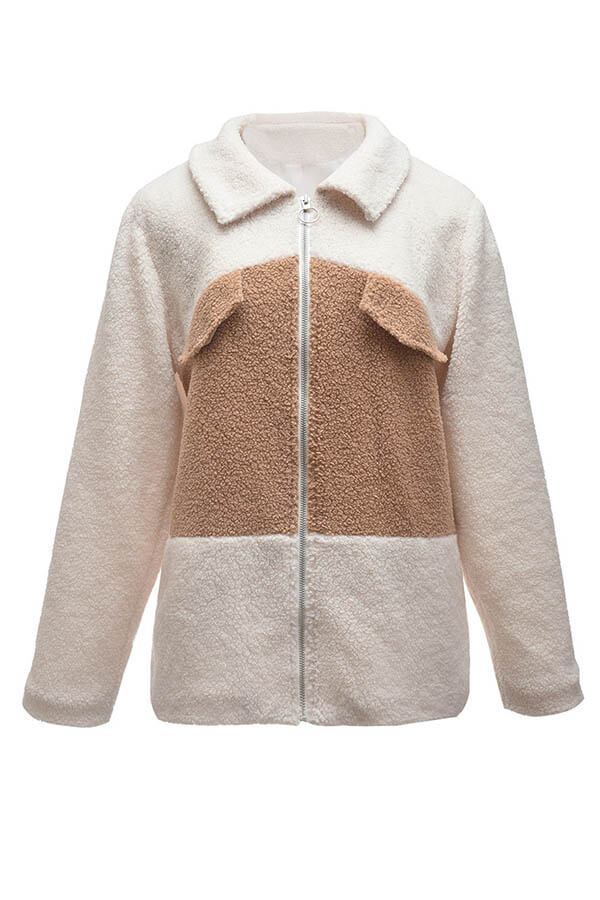 Lovely Trendy Patchwork Khaki Teddy Coat