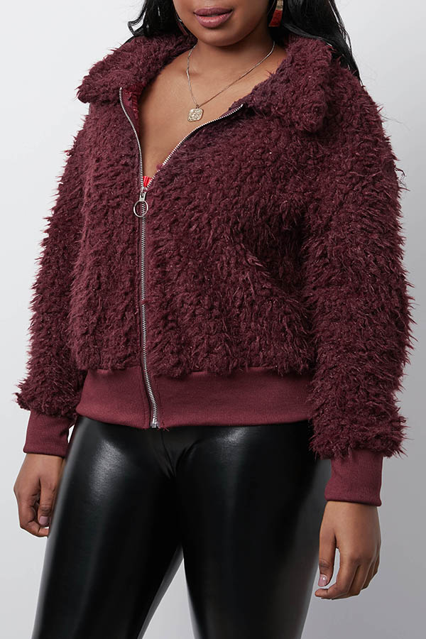 Lovely Casual Zipper Design Wine Red Coat