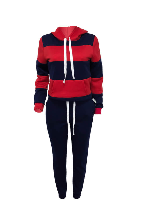 Lovely Casual Hooded Collar Patchwork Navy Blue Two-piece Pants Set