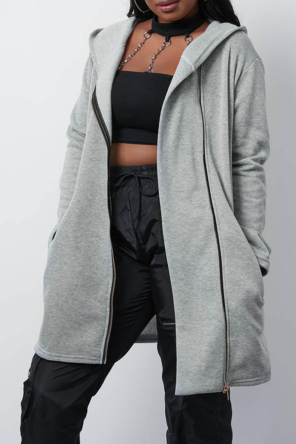 Lovely Casual Hooded Collar Zipper Design Grey Coat