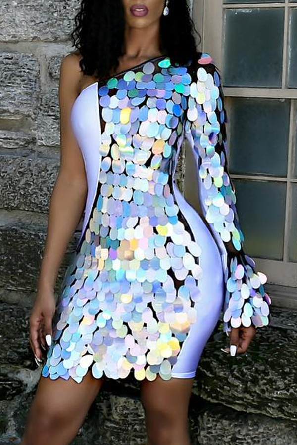 Lovely Casual Sequined Decorative Multicolor Mini Dress