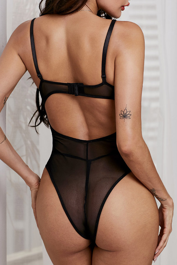 Lovely Sexy Bandage Design Black Teddies