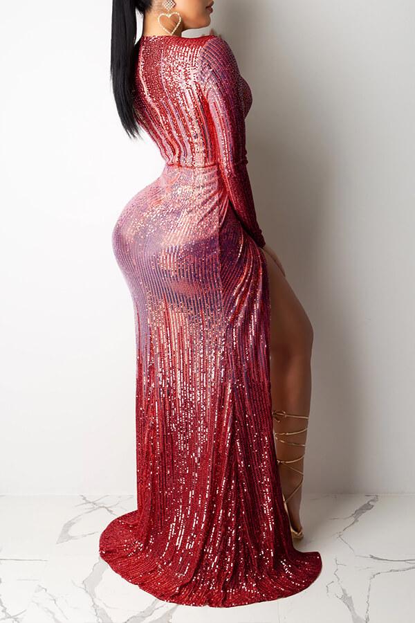 Lovely Party V Neck Ruffle Design Wine Red Prom Dress