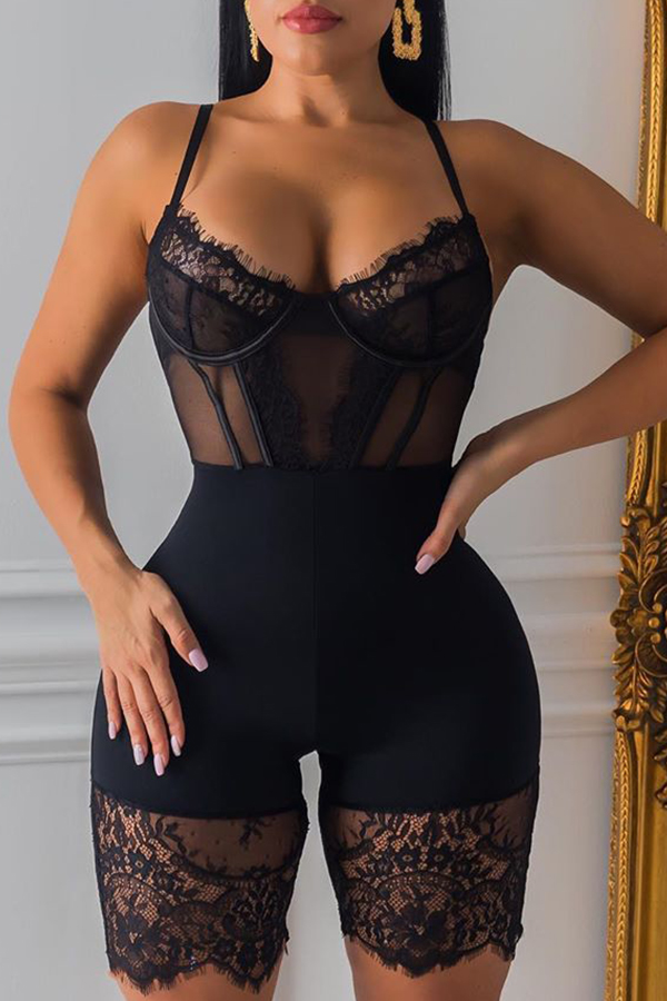 Lovely Sexy Hollow-out Black One-piece Romper
